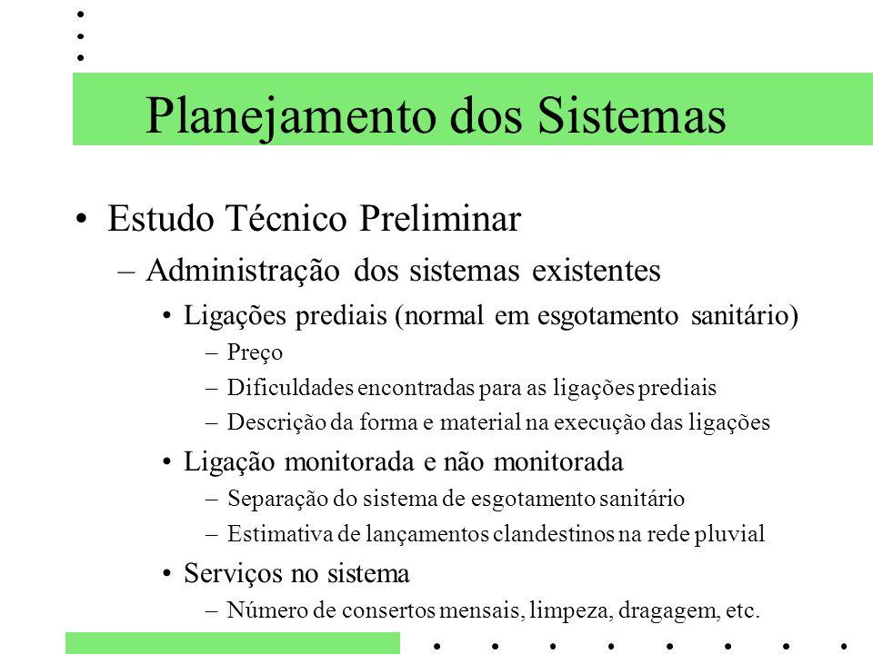 Planejamento dos Sistemas Estudo Técnico Preliminar –Administração dos sistemas existentes Ligações prediais (normal em esgotamento sanitário) –Preço