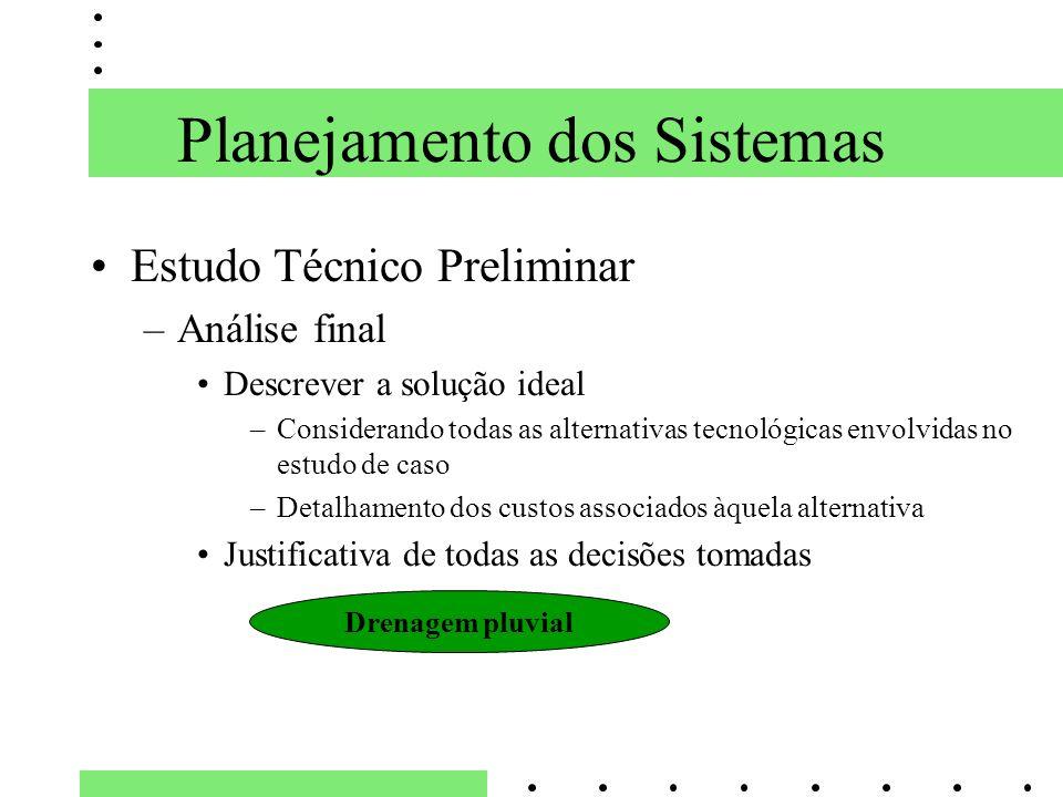 Planejamento dos Sistemas Estudo Técnico Preliminar –Análise final Descrever a solução ideal –Considerando todas as alternativas tecnológicas envolvid