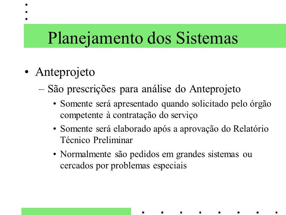 Planejamento dos Sistemas Anteprojeto –São prescrições para análise do Anteprojeto Somente será apresentado quando solicitado pelo órgão competente à