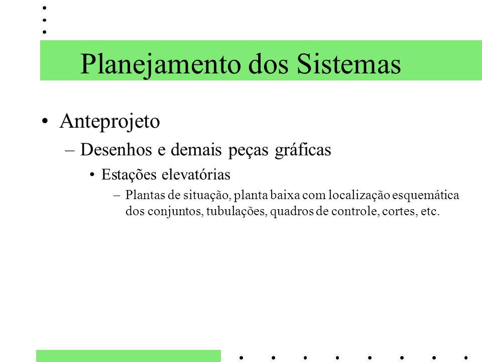 Planejamento dos Sistemas Anteprojeto –Desenhos e demais peças gráficas Estações elevatórias –Plantas de situação, planta baixa com localização esquem