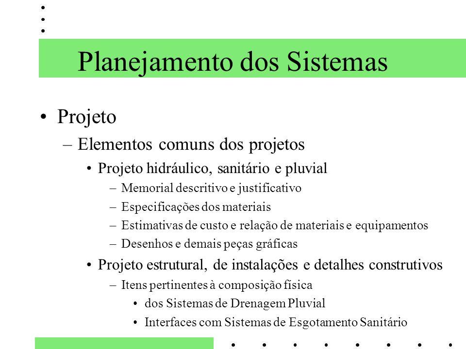 Planejamento dos Sistemas Projeto –Elementos comuns dos projetos Projeto hidráulico, sanitário e pluvial –Memorial descritivo e justificativo –Especif