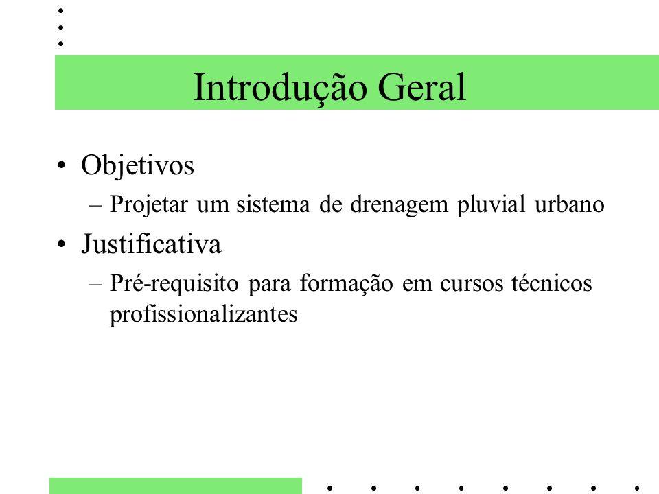 Objetivos –Projetar um sistema de drenagem pluvial urbano Justificativa –Pré-requisito para formação em cursos técnicos profissionalizantes