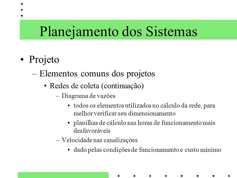 Planejamento dos Sistemas Projeto –Elementos comuns dos projetos Redes de coleta (continuação) –Diagrama de vazões todos os elementos utilizados no cá