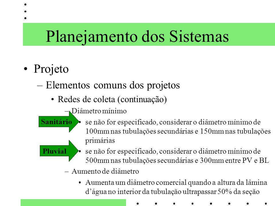 Planejamento dos Sistemas Projeto –Elementos comuns dos projetos Redes de coleta (continuação) –Diâmetro mínimo se não for especificado, considerar o