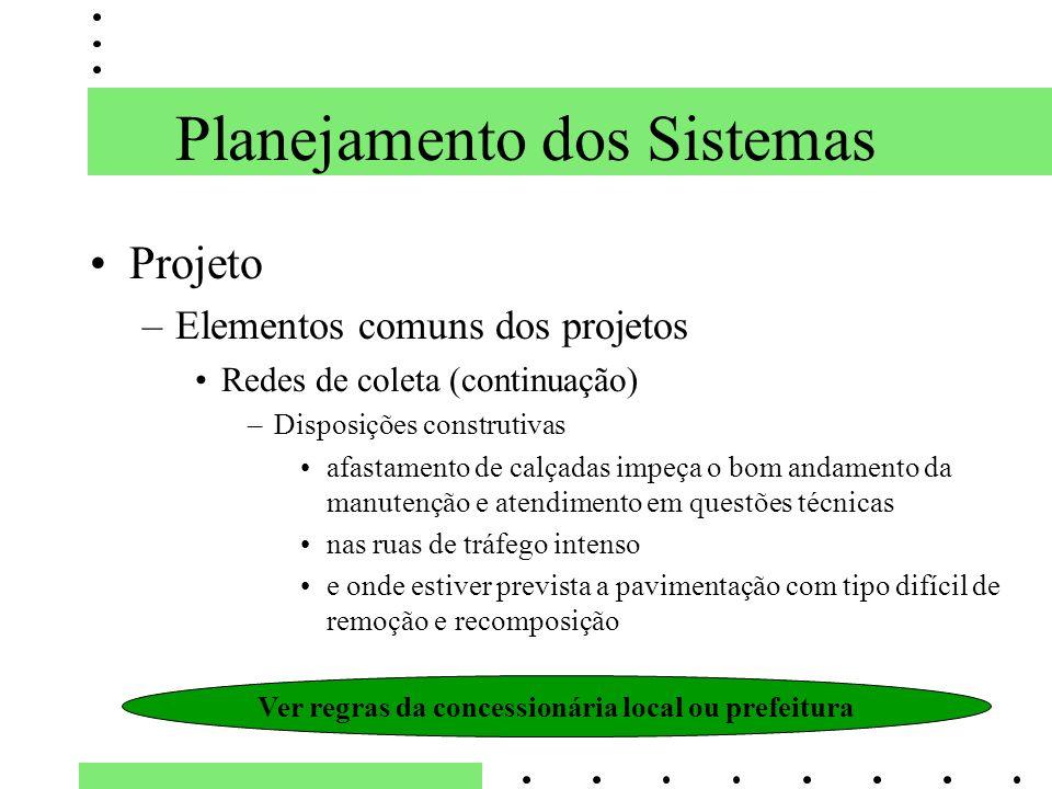 Planejamento dos Sistemas Projeto –Elementos comuns dos projetos Redes de coleta (continuação) –Disposições construtivas afastamento de calçadas impeç