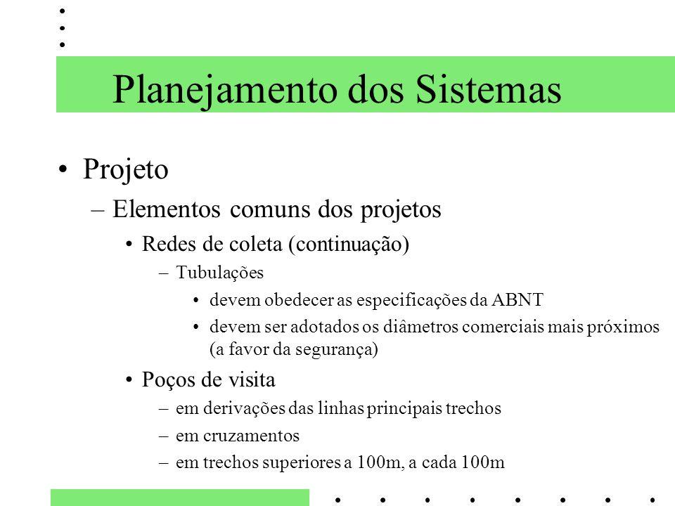 Planejamento dos Sistemas Projeto –Elementos comuns dos projetos Redes de coleta (continuação) –Tubulações devem obedecer as especificações da ABNT de