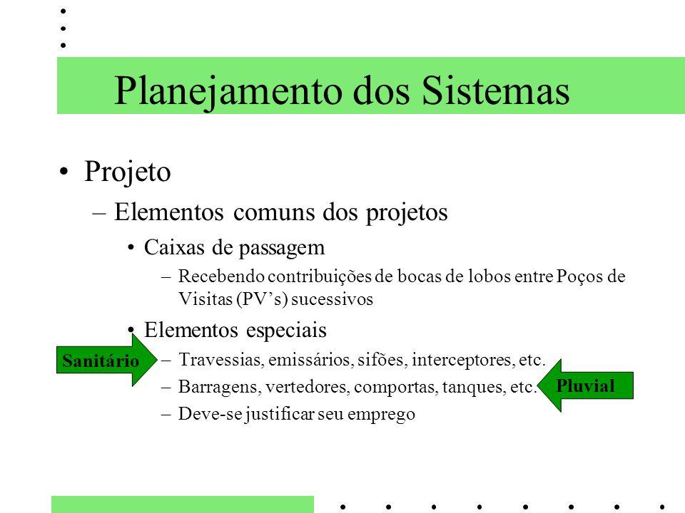 Planejamento dos Sistemas Projeto –Elementos comuns dos projetos Caixas de passagem –Recebendo contribuições de bocas de lobos entre Poços de Visitas