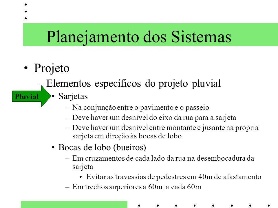 Planejamento dos Sistemas Projeto –Elementos específicos do projeto pluvial Sarjetas –Na conjunção entre o pavimento e o passeio –Deve haver um desnív