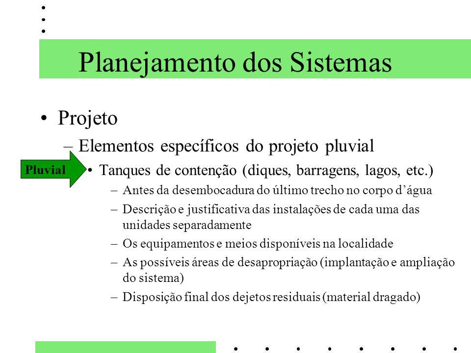 Planejamento dos Sistemas Projeto –Elementos específicos do projeto pluvial Tanques de contenção (diques, barragens, lagos, etc.) –Antes da desembocad