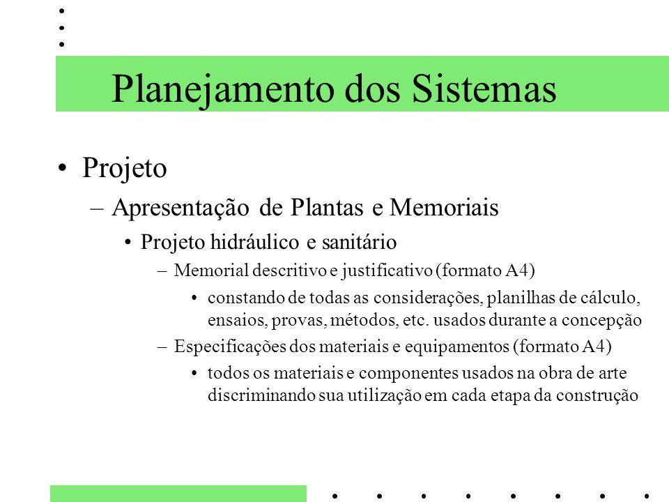 Planejamento dos Sistemas Projeto –Apresentação de Plantas e Memoriais Projeto hidráulico e sanitário –Memorial descritivo e justificativo (formato A4