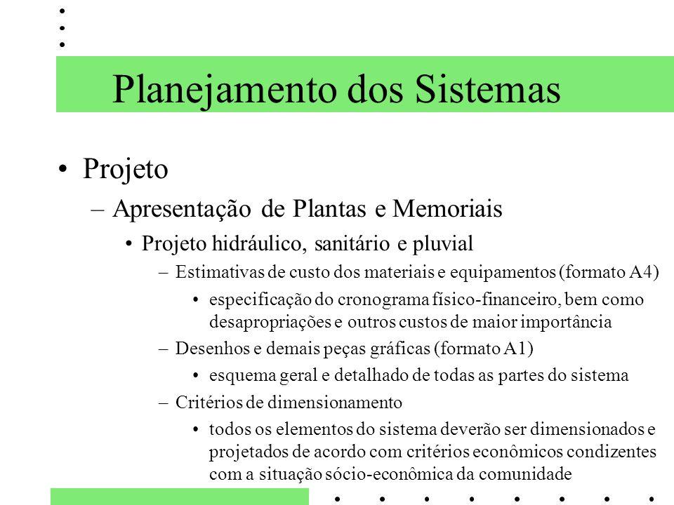 Planejamento dos Sistemas Projeto –Apresentação de Plantas e Memoriais Projeto hidráulico, sanitário e pluvial –Estimativas de custo dos materiais e e