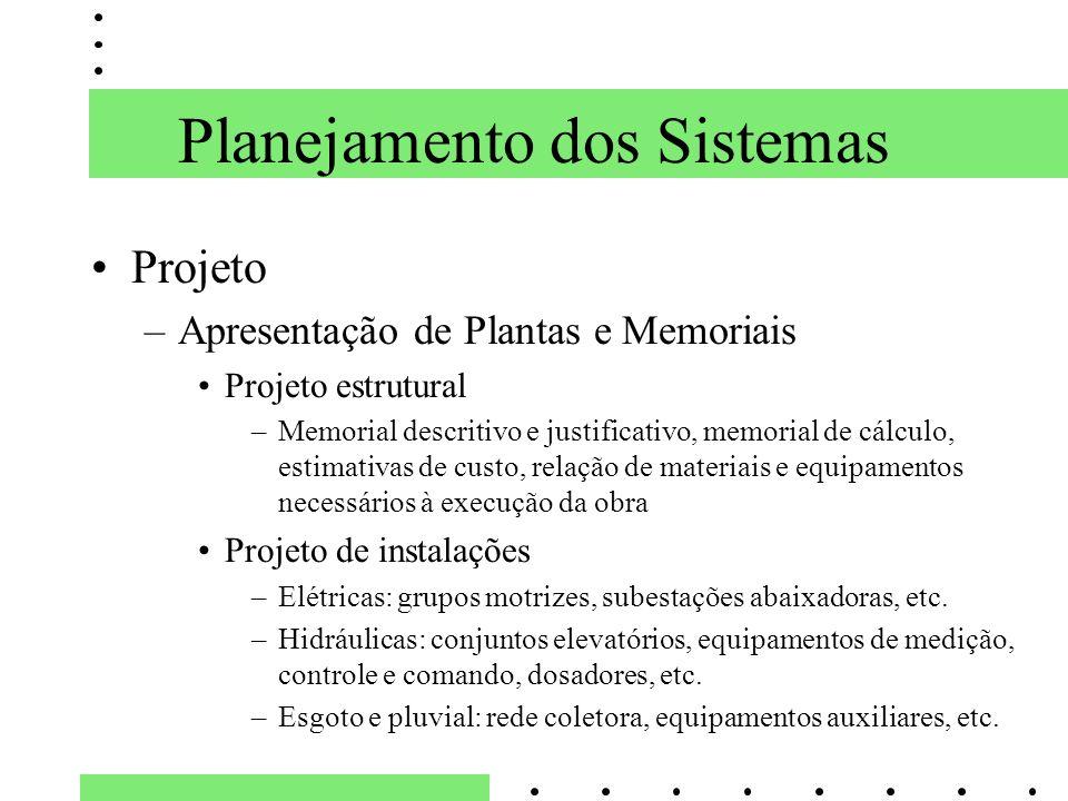 Planejamento dos Sistemas Projeto –Apresentação de Plantas e Memoriais Projeto estrutural –Memorial descritivo e justificativo, memorial de cálculo, e