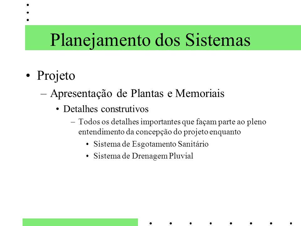 Planejamento dos Sistemas Projeto –Apresentação de Plantas e Memoriais Detalhes construtivos –Todos os detalhes importantes que façam parte ao pleno e