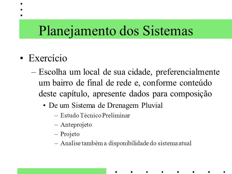 Planejamento dos Sistemas Exercício –Escolha um local de sua cidade, preferencialmente um bairro de final de rede e, conforme conteúdo deste capítulo,