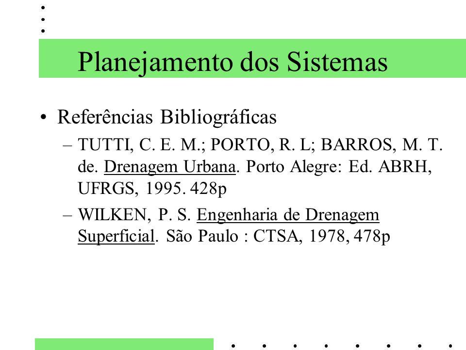 Planejamento dos Sistemas Referências Bibliográficas –TUTTI, C. E. M.; PORTO, R. L; BARROS, M. T. de. Drenagem Urbana. Porto Alegre: Ed. ABRH, UFRGS,