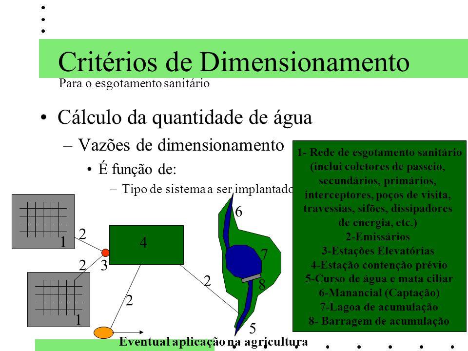 Critérios de Dimensionamento Cálculo da quantidade de água –Vazões de dimensionamento É função de: –Tipo de sistema a ser implantado 5 1- Rede de esgo