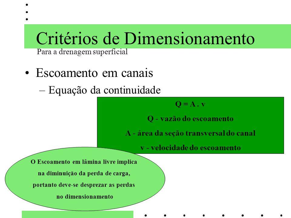 Critérios de Dimensionamento Escoamento em canais –Equação da continuidade Q = A. v Q - vazão do escoamento A - área da seção transversal do canal v -