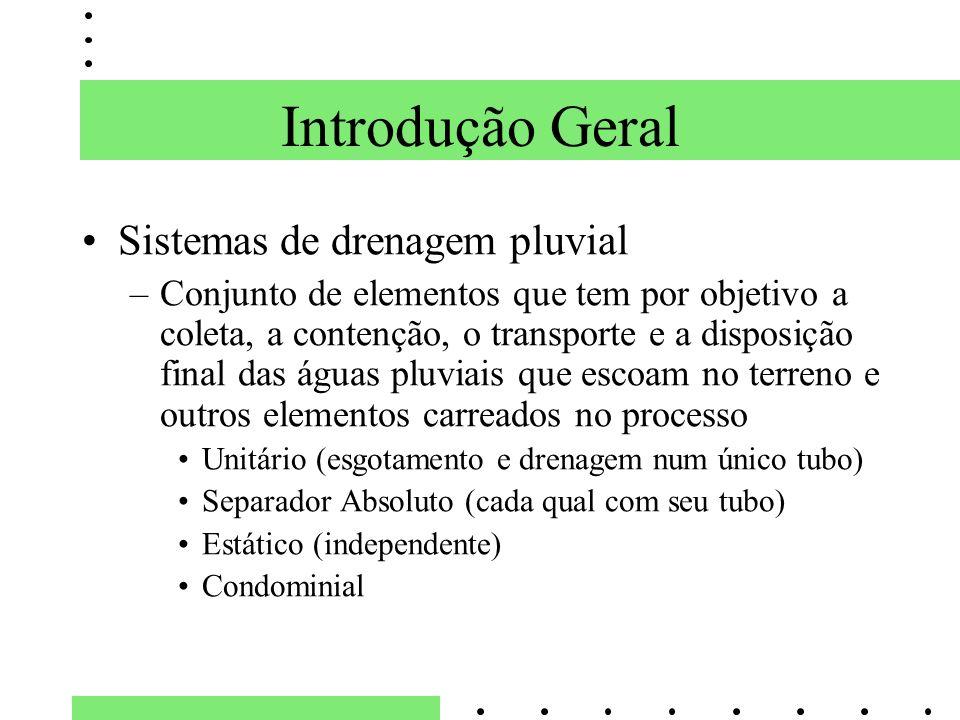 Introdução Geral Sistemas de drenagem pluvial –Conjunto de elementos que tem por objetivo a coleta, a contenção, o transporte e a disposição final das