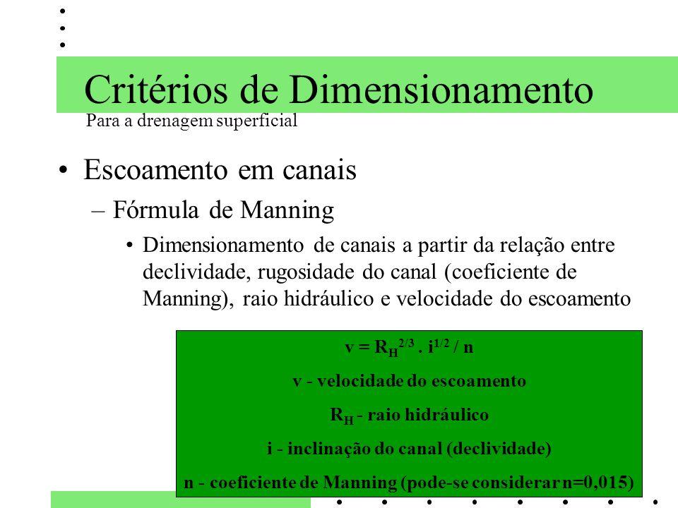 Critérios de Dimensionamento Escoamento em canais –Fórmula de Manning Dimensionamento de canais a partir da relação entre declividade, rugosidade do c