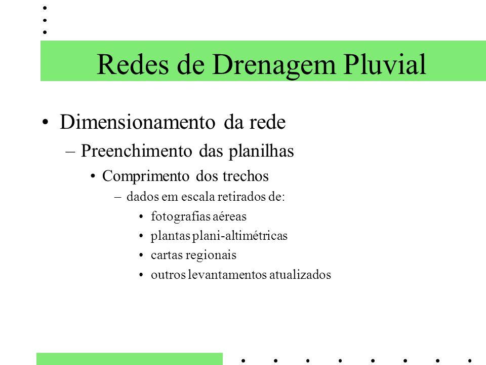Dimensionamento da rede –Preenchimento das planilhas Comprimento dos trechos –dados em escala retirados de: fotografias aéreas plantas plani-altimétri