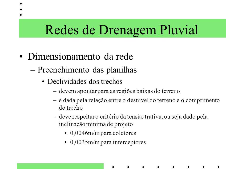 Dimensionamento da rede –Preenchimento das planilhas Declividades dos trechos –devem apontar para as regiões baixas do terreno –é dada pela relação en