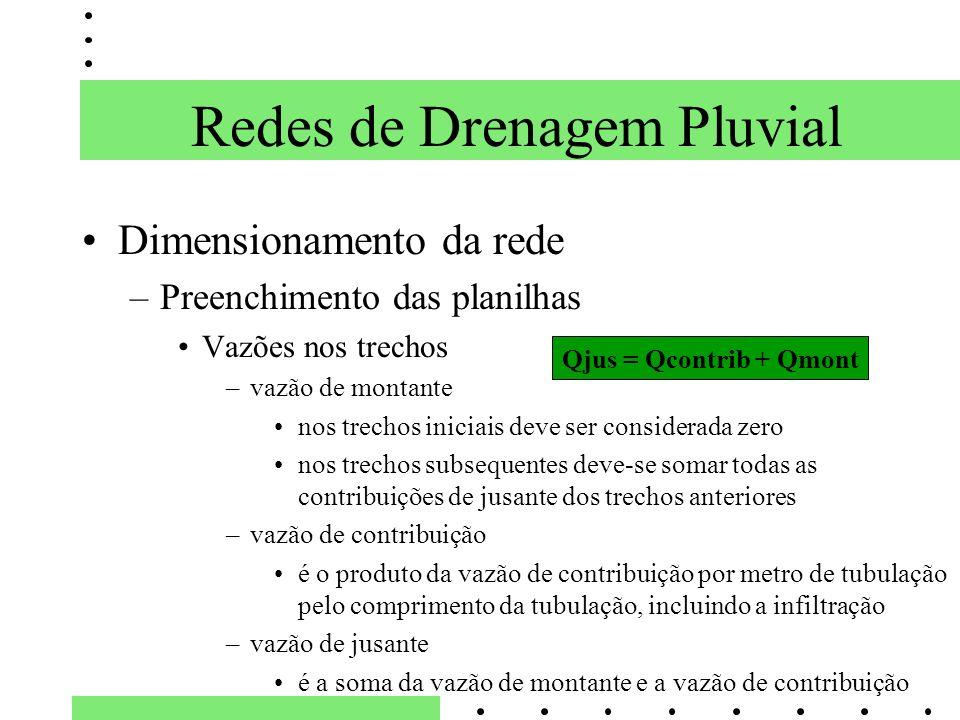 Dimensionamento da rede –Preenchimento das planilhas Vazões nos trechos –vazão de montante nos trechos iniciais deve ser considerada zero nos trechos