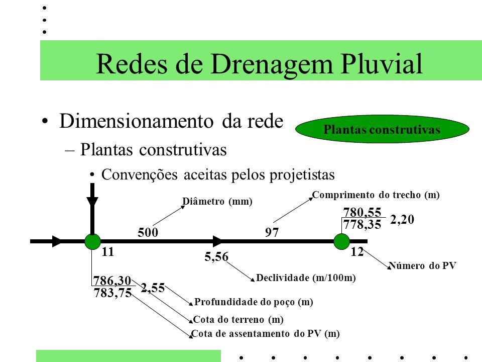 Dimensionamento da rede –Plantas construtivas Convenções aceitas pelos projetistas Plantas construtivas 5,56 97 500 1112 778,35 780,55 2,20 783,75 786
