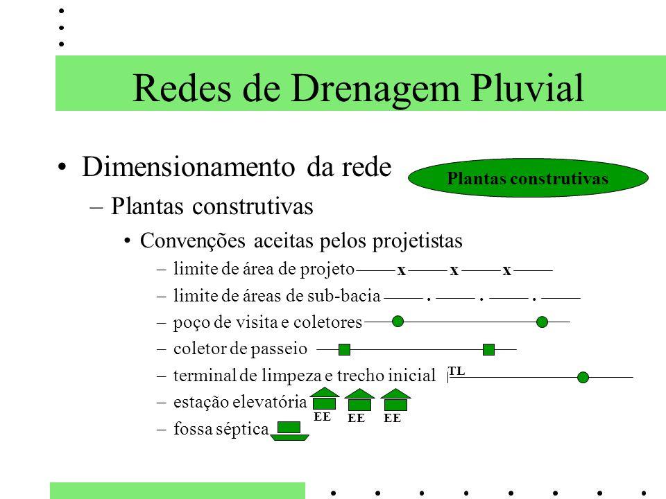 Dimensionamento da rede –Plantas construtivas Convenções aceitas pelos projetistas –limite de área de projeto –limite de áreas de sub-bacia –poço de v