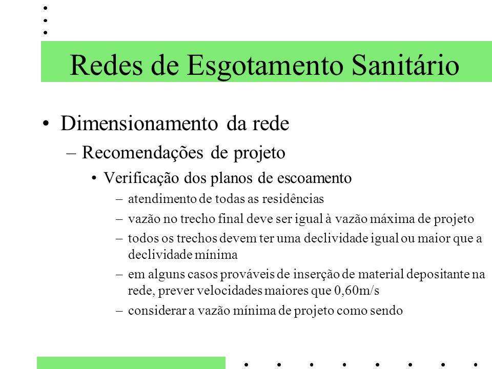 Dimensionamento da rede –Recomendações de projeto Verificação dos planos de escoamento –atendimento de todas as residências –vazão no trecho final dev