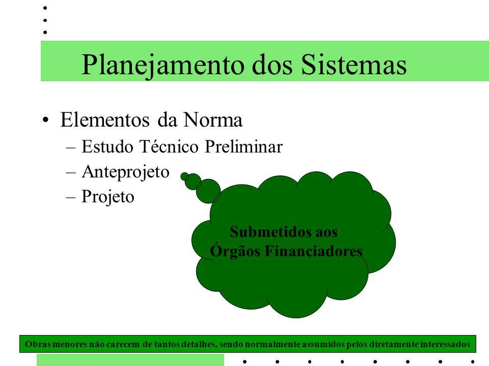 Elementos da Norma –Estudo Técnico Preliminar –Anteprojeto –Projeto Submetidos aos Órgãos Financiadores Obras menores não carecem de tantos detalhes,