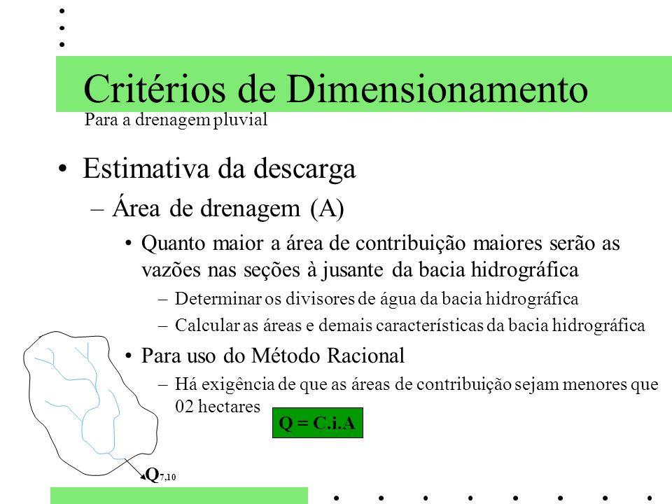 Critérios de Dimensionamento Estimativa da descarga –Área de drenagem (A) Quanto maior a área de contribuição maiores serão as vazões nas seções à jus