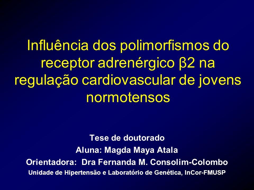 Influência dos polimorfismos do receptor adrenérgico β2 na regulação cardiovascular de jovens normotensos Tese de doutorado Aluna: Magda Maya Atala Or