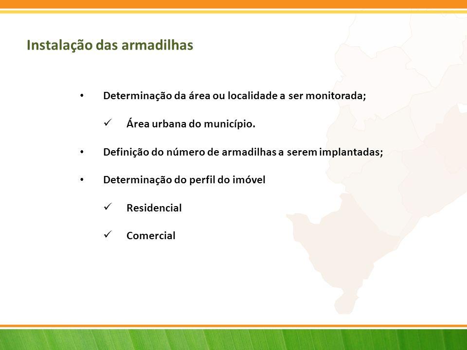 Instalação das armadilhas Determinação da área ou localidade a ser monitorada; Área urbana do município. Definição do número de armadilhas a serem imp