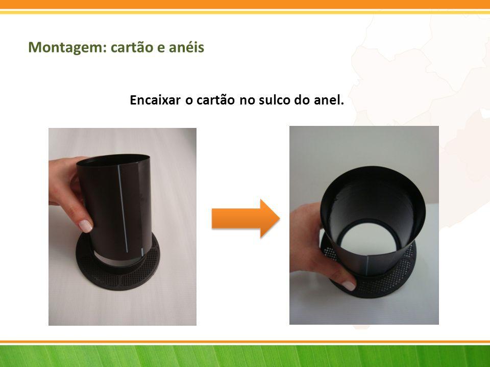 Montagem: cartão e anéis Encaixar o cartão no sulco do anel.