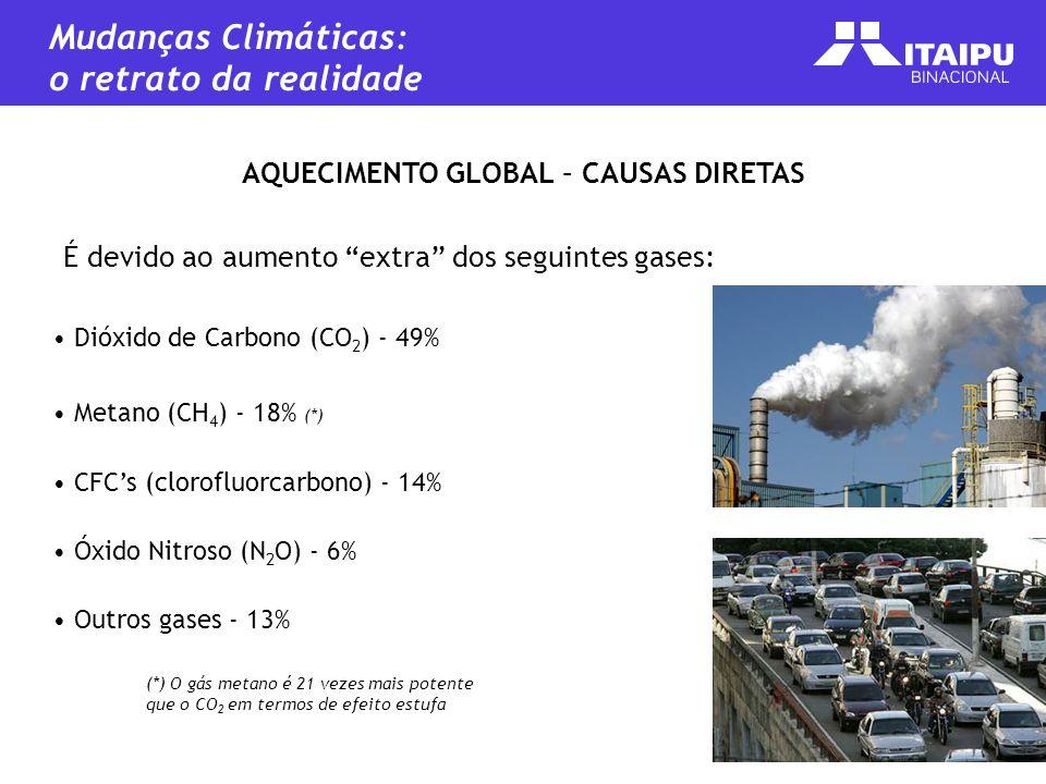 AQUECIMENTO GLOBAL – CAUSAS DIRETAS É devido ao aumento extra dos seguintes gases: Dióxido de Carbono (CO 2 ) - 49% Metano (CH 4 ) - 18% (*) CFCs (clo