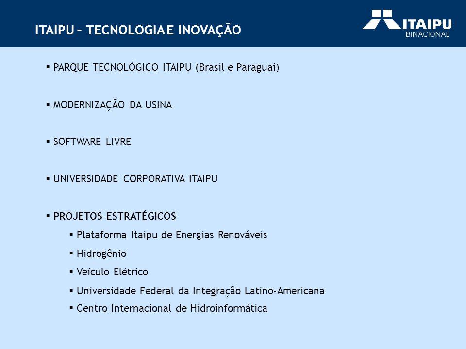 PARQUE TECNOLÓGICO ITAIPU (Brasil e Paraguai) MODERNIZAÇÃO DA USINA SOFTWARE LIVRE UNIVERSIDADE CORPORATIVA ITAIPU PROJETOS ESTRATÉGICOS Plataforma It