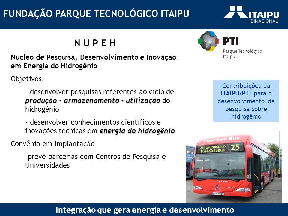 FUNDAÇÃO PARQUE TECNOLÓGICO ITAIPU Integração que gera energia e desenvolvimento N U P E H Núcleo de Pesquisa, Desenvolvimento e Inovação em Energia d