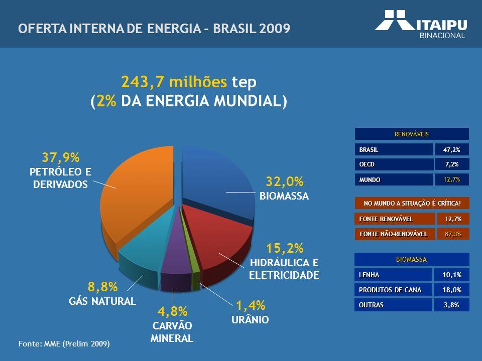 Fonte: MME (Prelim 2009) OFERTA INTERNA DE ENERGIA - BRASIL 2009 RENOVÁVEIS BRASIL OECD MUNDO 47,2% 7,2% 12,7% NO MUNDO A SITUAÇÃO É CRÍTICA! FONTE RE