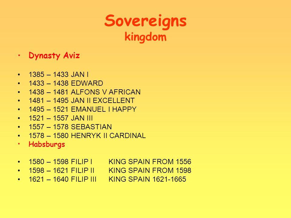 Sovereigns kingdom Lain Braganz 1640 - 1656JAN IV 1656 - 1667ALFONS VI 1667 - 1706PITER II 1706 - 1750JAN V 1750 - 1777JOSEPH 1777 - 1786PITER III 1786 - 1816MARIA I 1816 - 1826JAN VI 1826 - 1828PITER IV CES.