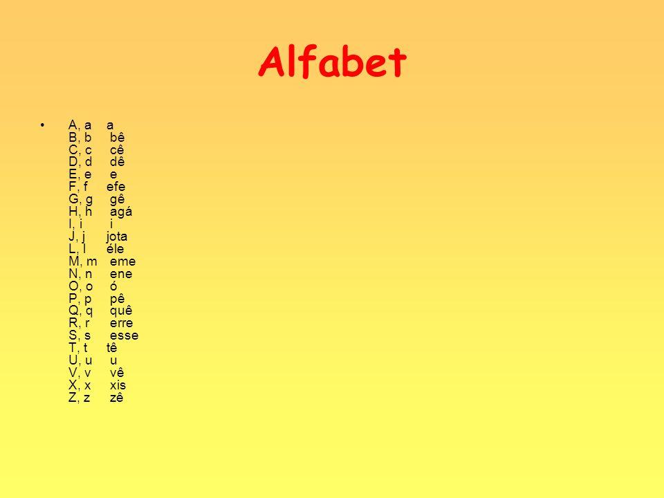 Alfabet A, aa B, b bê C, c cê D, d dê E, e e F, fefe G, g gê H, h agá I, i i J, jjota L, léle M, m eme N, n ene O, o ó P, p pê Q, q quê R, r erre S, s