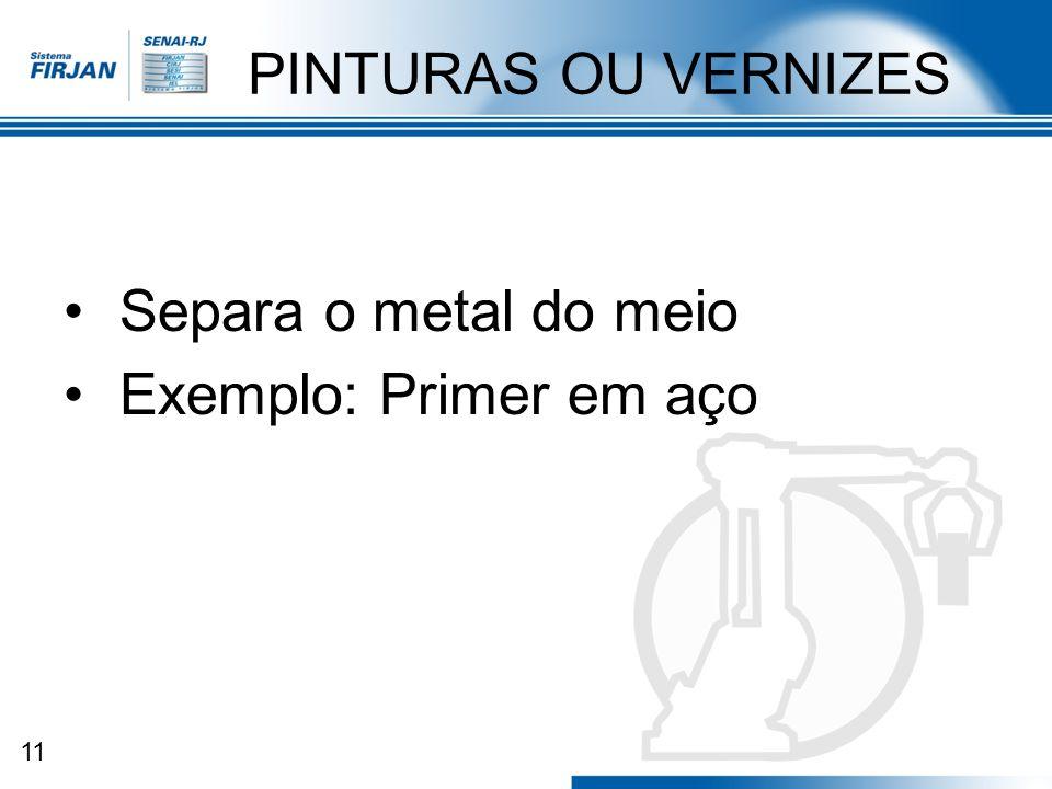 11 PINTURAS OU VERNIZES Separa o metal do meio Exemplo: Primer em aço