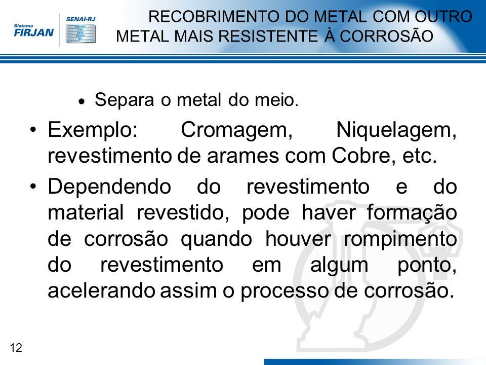 12 RECOBRIMENTO DO METAL COM OUTRO METAL MAIS RESISTENTE À CORROSÃO Separa o metal do meio. Exemplo: Cromagem, Niquelagem, revestimento de arames com