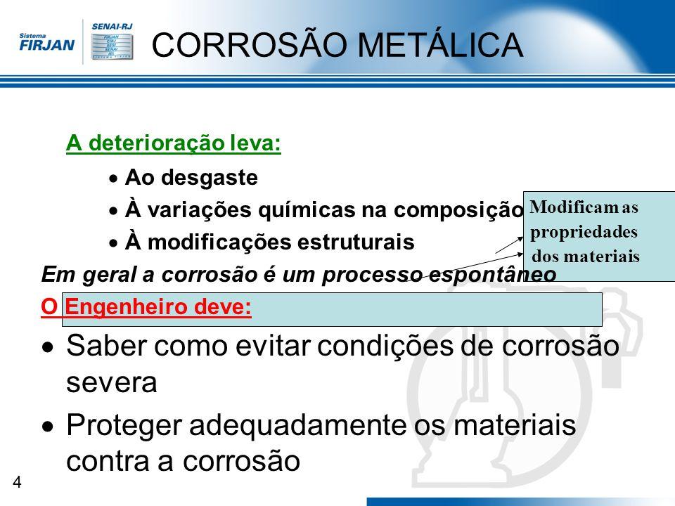 4 CORROSÃO METÁLICA A deterioração leva: Ao desgaste À variações químicas na composição À modificações estruturais Em geral a corrosão é um processo e