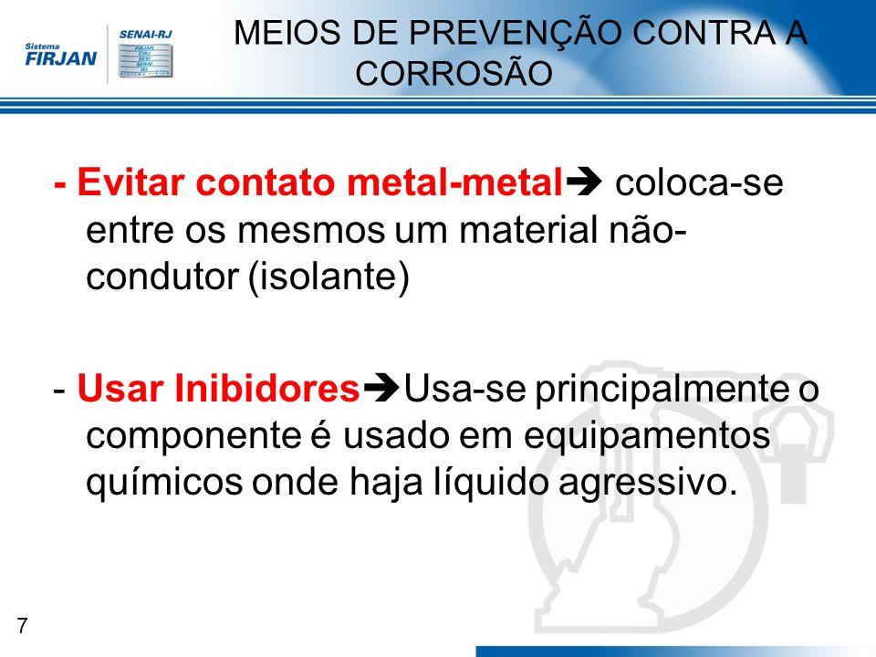 7 MEIOS DE PREVENÇÃO CONTRA A CORROSÃO - Evitar contato metal-metal coloca-se entre os mesmos um material não- condutor (isolante) - Usar Inibidores U