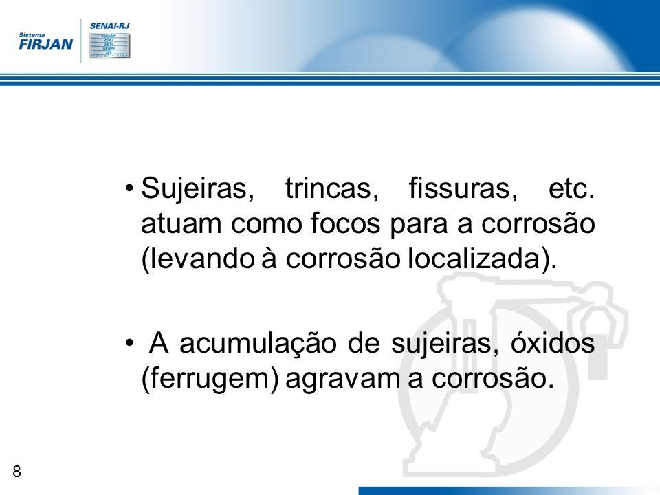 8 Sujeiras, trincas, fissuras, etc. atuam como focos para a corrosão (levando à corrosão localizada). A acumulação de sujeiras, óxidos (ferrugem) agra