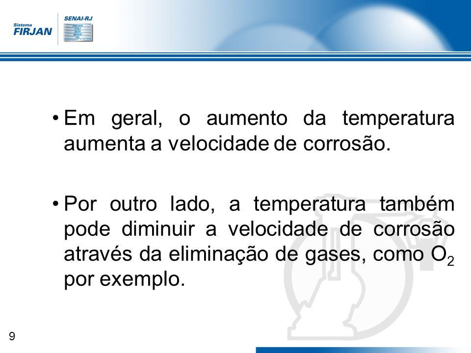 9 Em geral, o aumento da temperatura aumenta a velocidade de corrosão. Por outro lado, a temperatura também pode diminuir a velocidade de corrosão atr