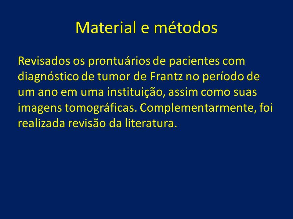 Material e métodos Revisados os prontuários de pacientes com diagnóstico de tumor de Frantz no período de um ano em uma instituição, assim como suas i