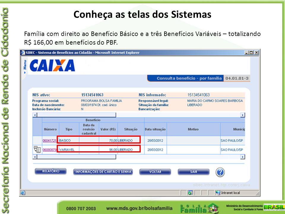 Conheça as telas dos Sistemas Família com direito ao Benefício Básico e a três Benefícios Variáveis – totalizando R$ 166,00 em benefícios do PBF.