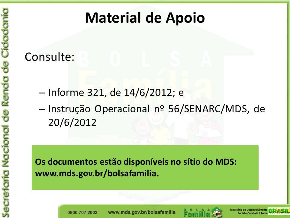Material de Apoio Consulte: – Informe 321, de 14/6/2012; e – Instrução Operacional nº 56/SENARC/MDS, de 20/6/2012 Os documentos estão disponíveis no s