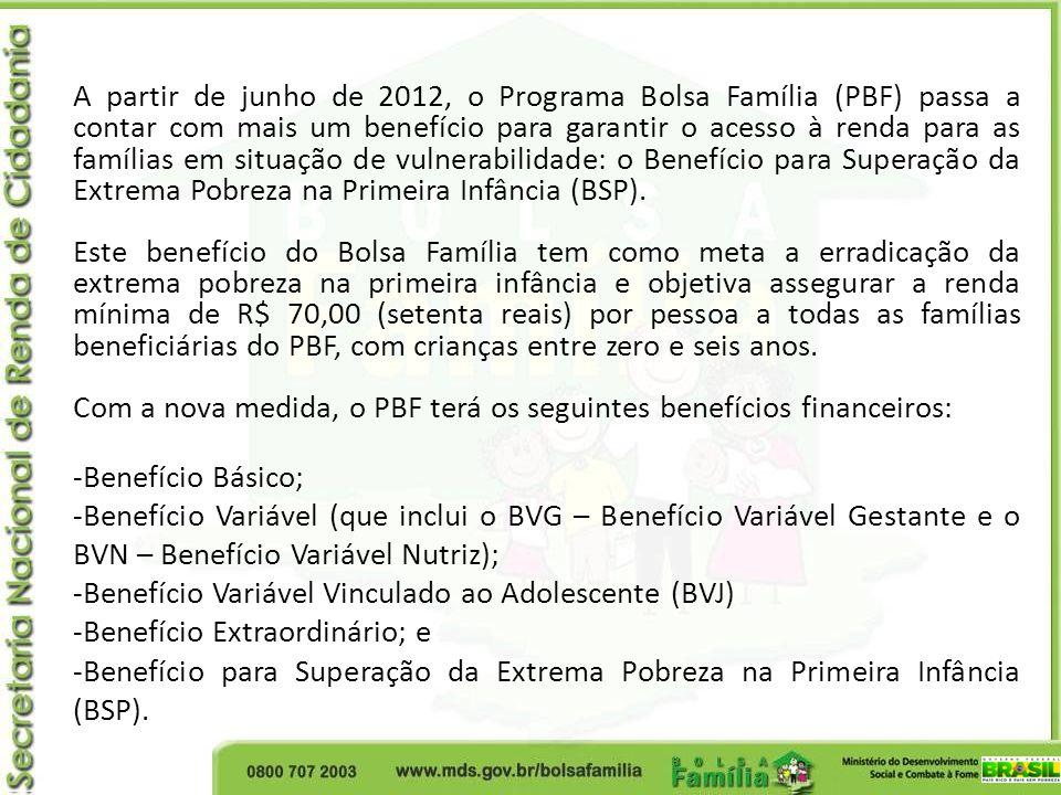 A partir de junho de 2012, o Programa Bolsa Família (PBF) passa a contar com mais um benefício para garantir o acesso à renda para as famílias em situ